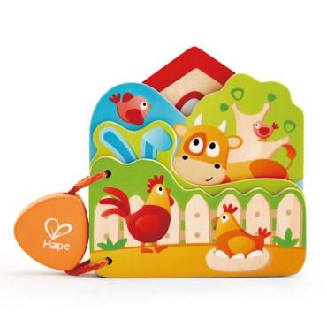 Hape houten babyboekje boerderijdieren