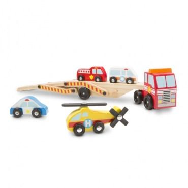 autovervoerder met noodvoertuigen