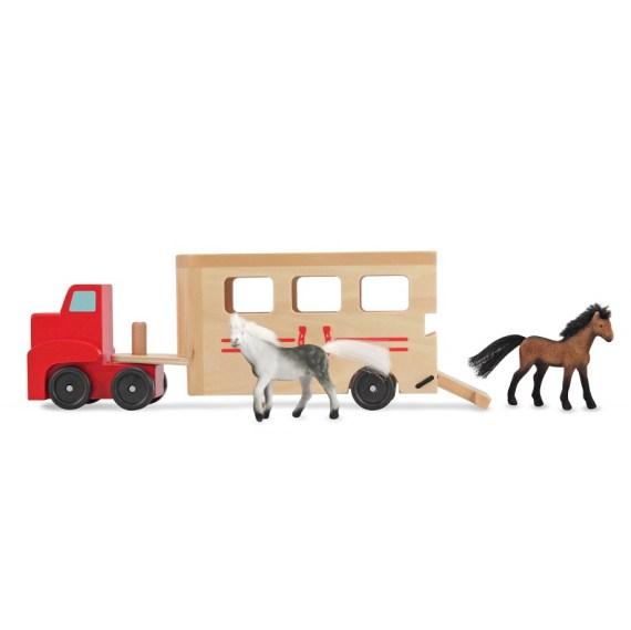 Paardentrailer met paarden
