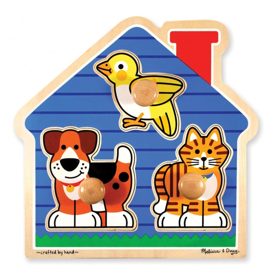 Vormenpuzzel huisdieren 3 stukjes