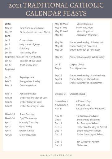 2021 Traditional Catholic Calendar feasts   Raising Hearts