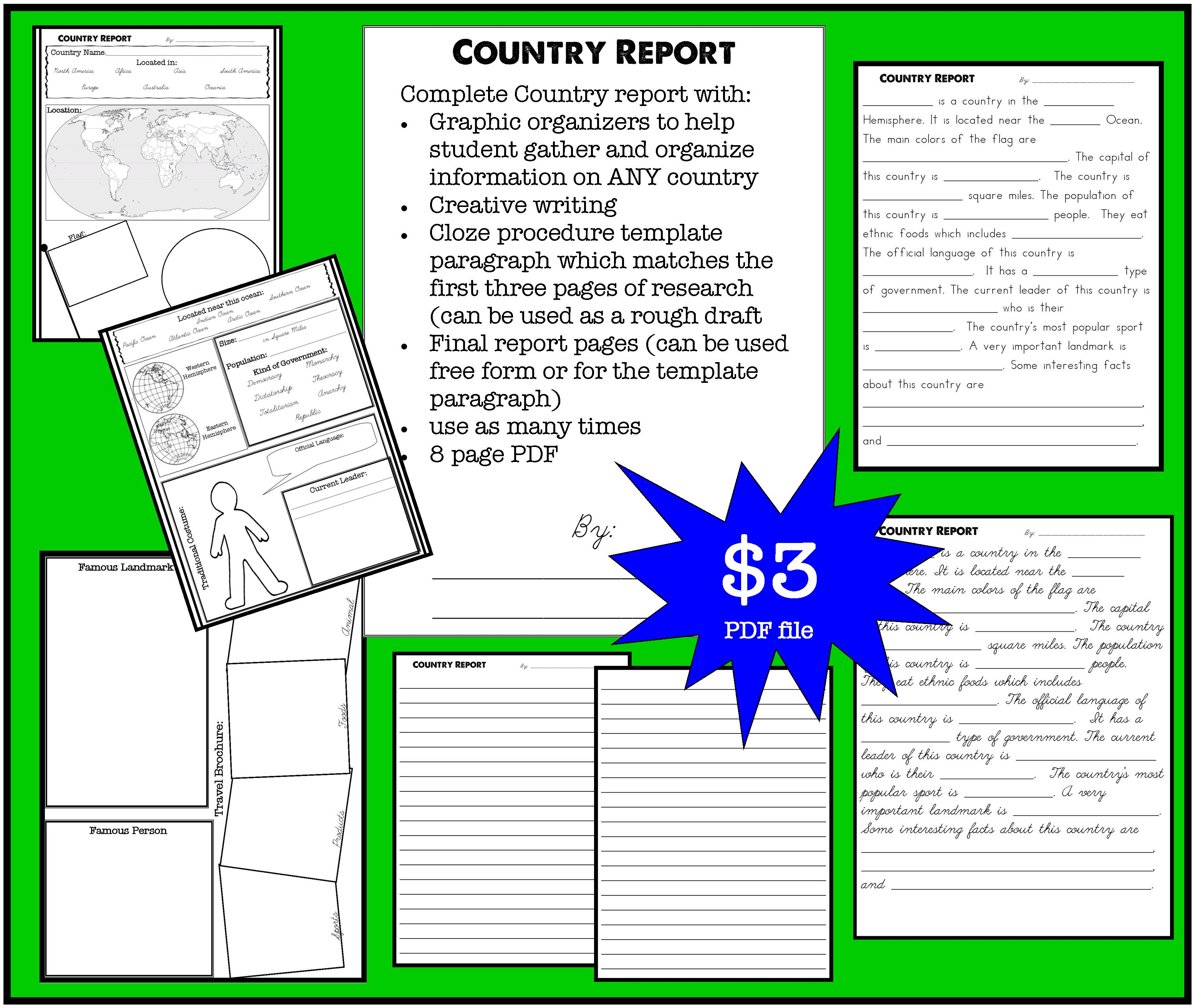 Country Report Printable | Raising {&Teaching} Little Saints