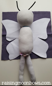 making a butterfly doll - body with legs