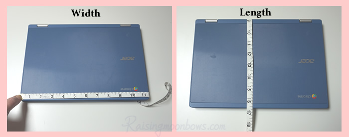Laptop sleeve measurements - images of both width and length measurements