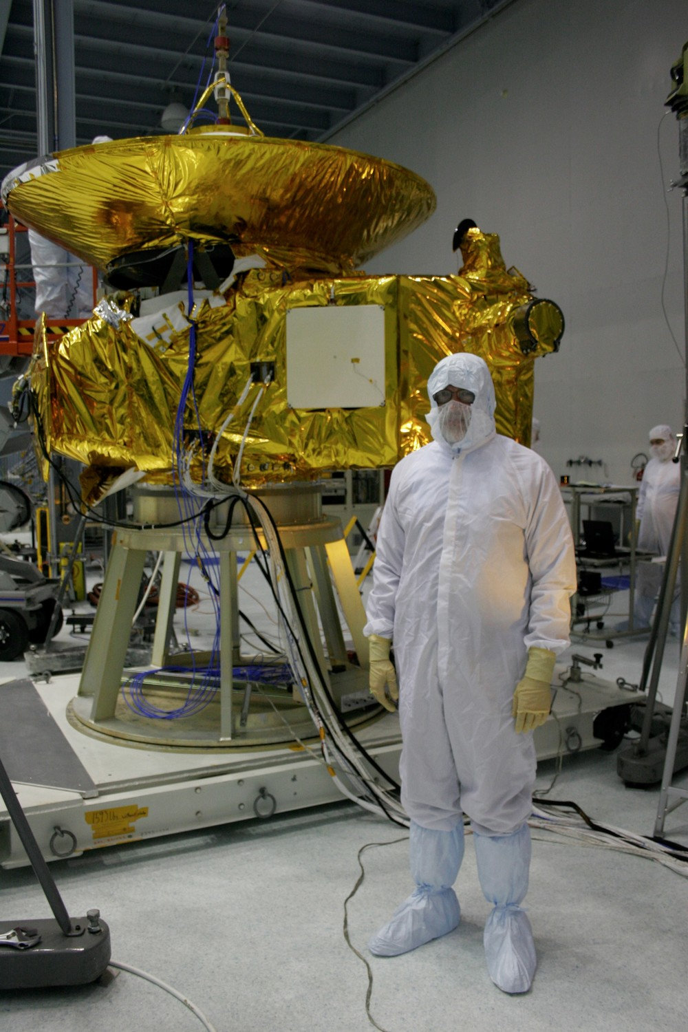 David during environmental testing of New Horizons spacecraft at Goddard Space Flight Center (GSFC), October 3, 2005. APL uses GSFC's large thermal vacuum chamber to simulate the space environment, and its acoustic testing chamber to subject spacecraft to sound levels experienced during launch, which cause mechanical vibrations in the spacecraft.