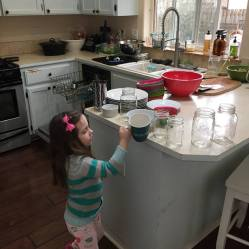 stacking dishes on counter