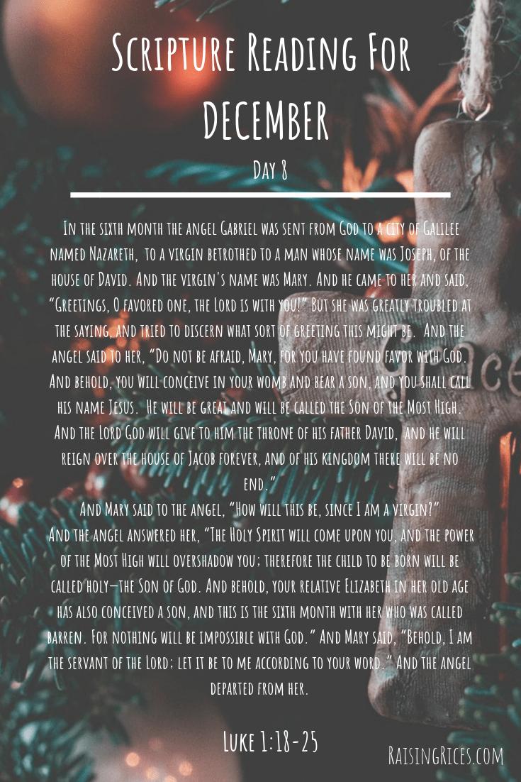 Scripture Reading For DECEMBER 8-2