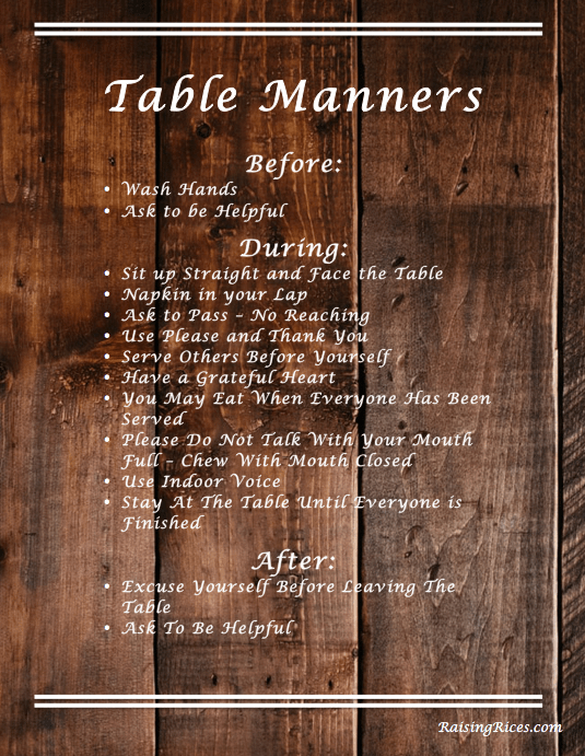 Table Manners RESOURCE!