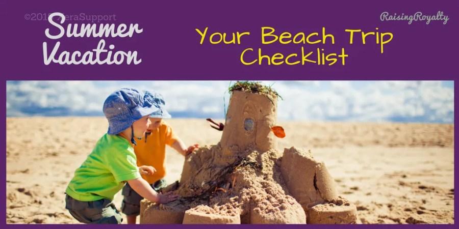 Summer vacation beach trip checklist