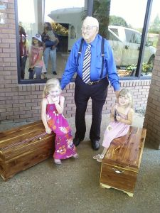 Naomi & Adah with their 90 year old great grandfather. He was giving them the hope chests he made just for them.