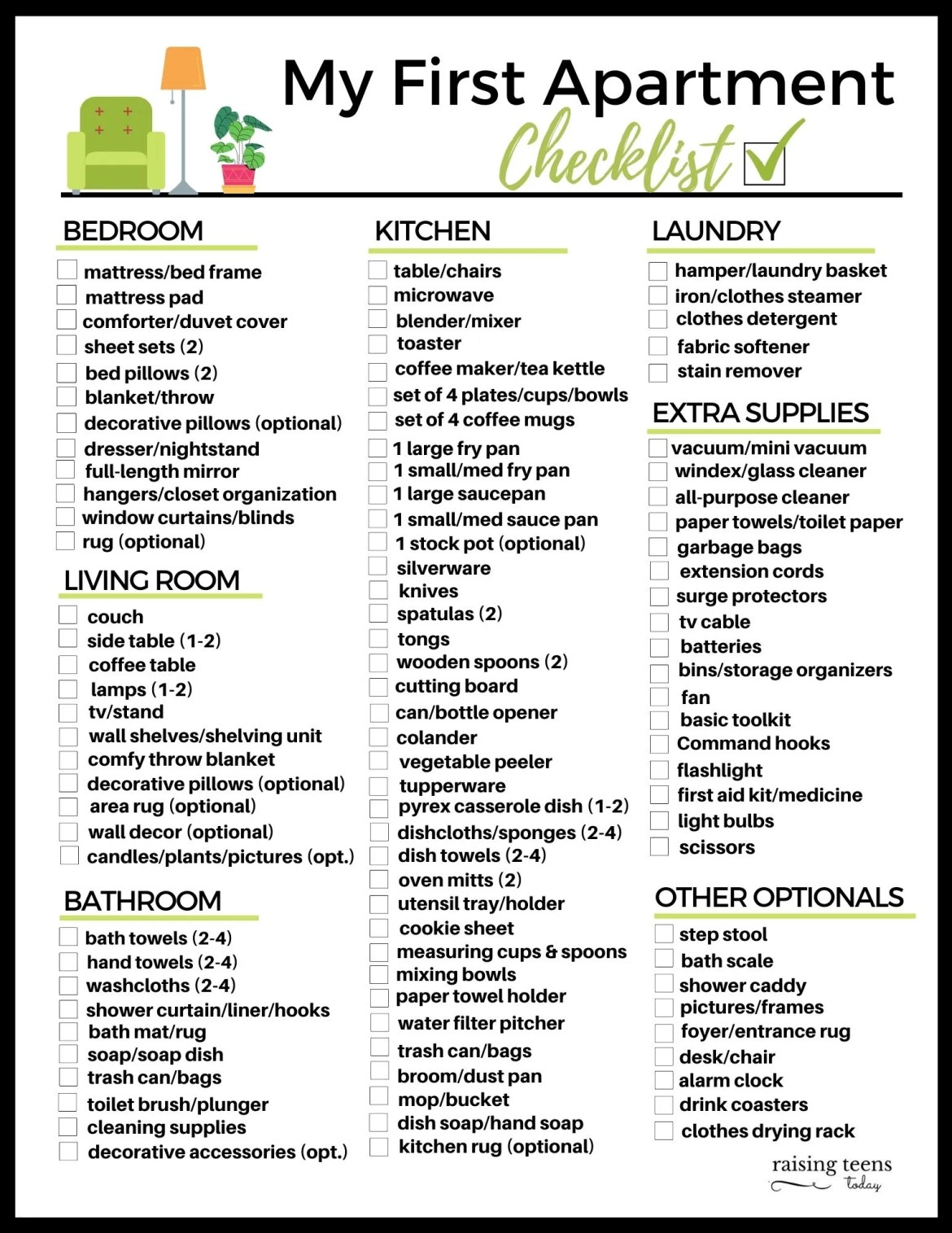 My First Apartment Checklist Free Printable Raising Teens Today