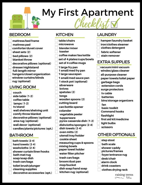 36 First College Apartment Gift Ideas Free My First Apartment Checklist Raising Teens Today