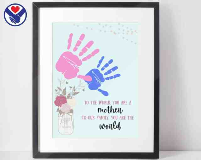 Mothers Day Handprint Art | Mason Jar Two Flowers Handprint Art Printable | Handprint Art Keepsake