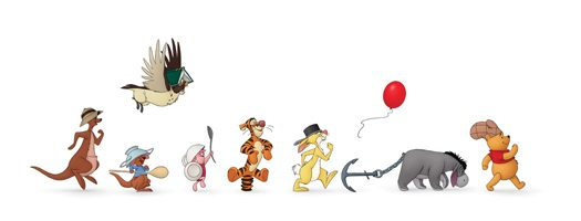 Winnie the Pooh marching with friends