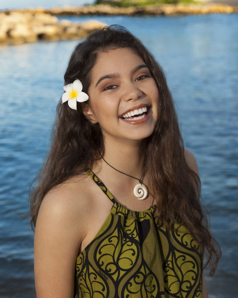 """Walt Disney Animation Studios' """"Moana"""" has found her voice following a worldwide search to cast the film's title character. Native Hawaiian newcomer Auli'i Cravalho, 14, joins Dwayne Johnson in the big-screen adventure about a spirited and fearless teenager named Moana (voice of Cravalho) who, with help from demi-god Maui (voice of Johnson), sets out on a daring mission to prove herself a master wayfinder. """"Moana"""" sails into U.S. theaters on Nov. 23, 2016. Photo by: Hugh E. Gentry. ©2015 Disney. All Rights Reserved."""