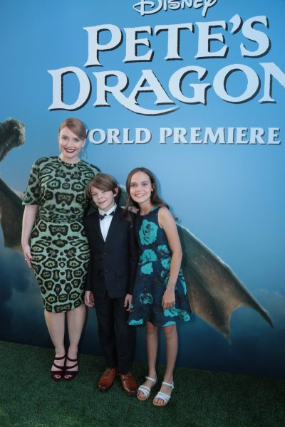 Bryce Dallas, Oakes Fegley, and Oona Laurence arrive at the world premiere of DisneyÕs PeteÕs Dragon at the El Capitan Theater in Hollywood on August 8, 2016. The new film, which stars Bryce Dallas Howard, Robert Redford, Oakes Fegley, Oona Laurence, Wes Bentley and Karl Urban and is written and directed by David Lowery, has been drawing rave reviews from both audiences and critics. PeteÕs Dragon opens nationwide August 12, 2016..(Photo: Alex J. Berliner/ABImages)