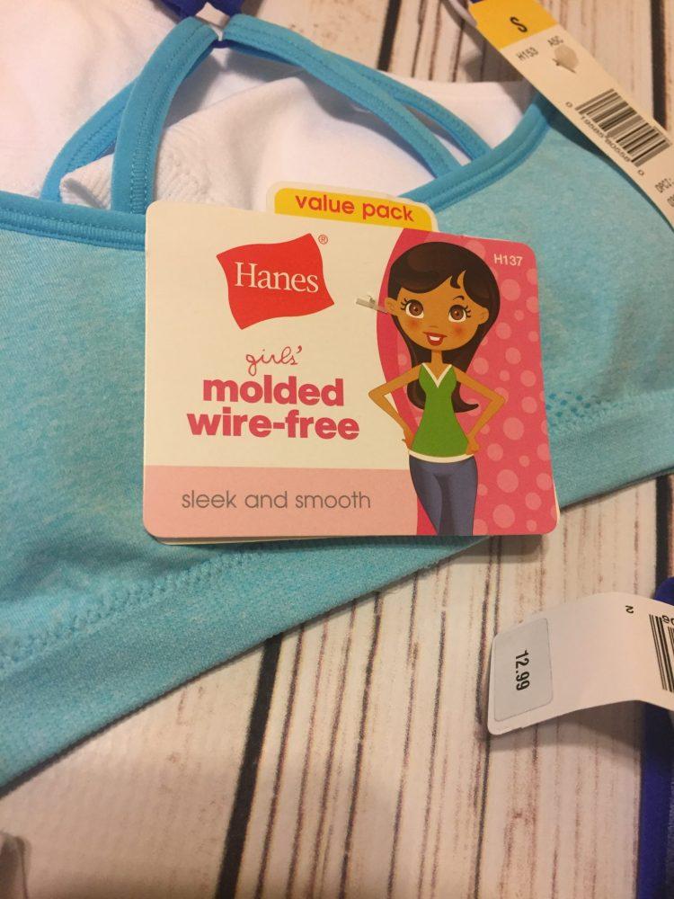 Hanes girls molded, wire-free bra