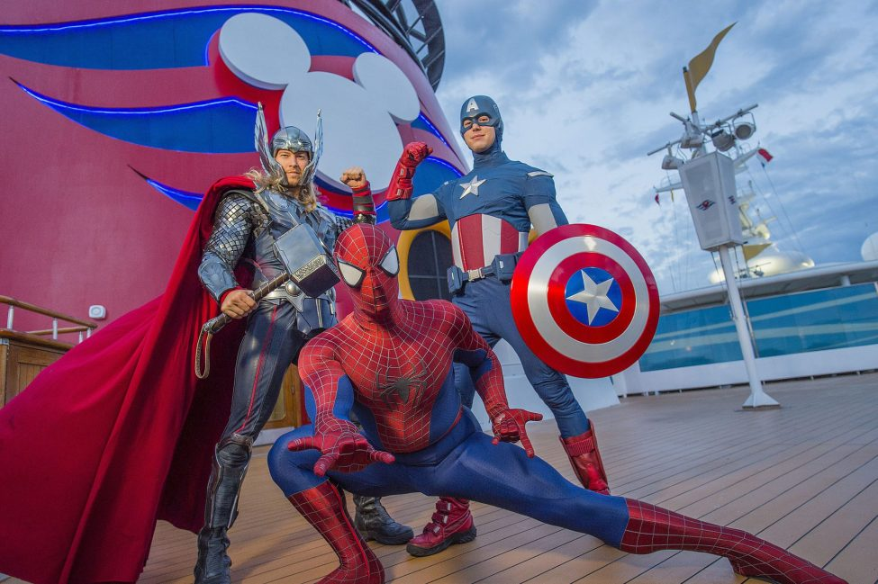 Thor, Captain America, and Spider-Man on ship deck