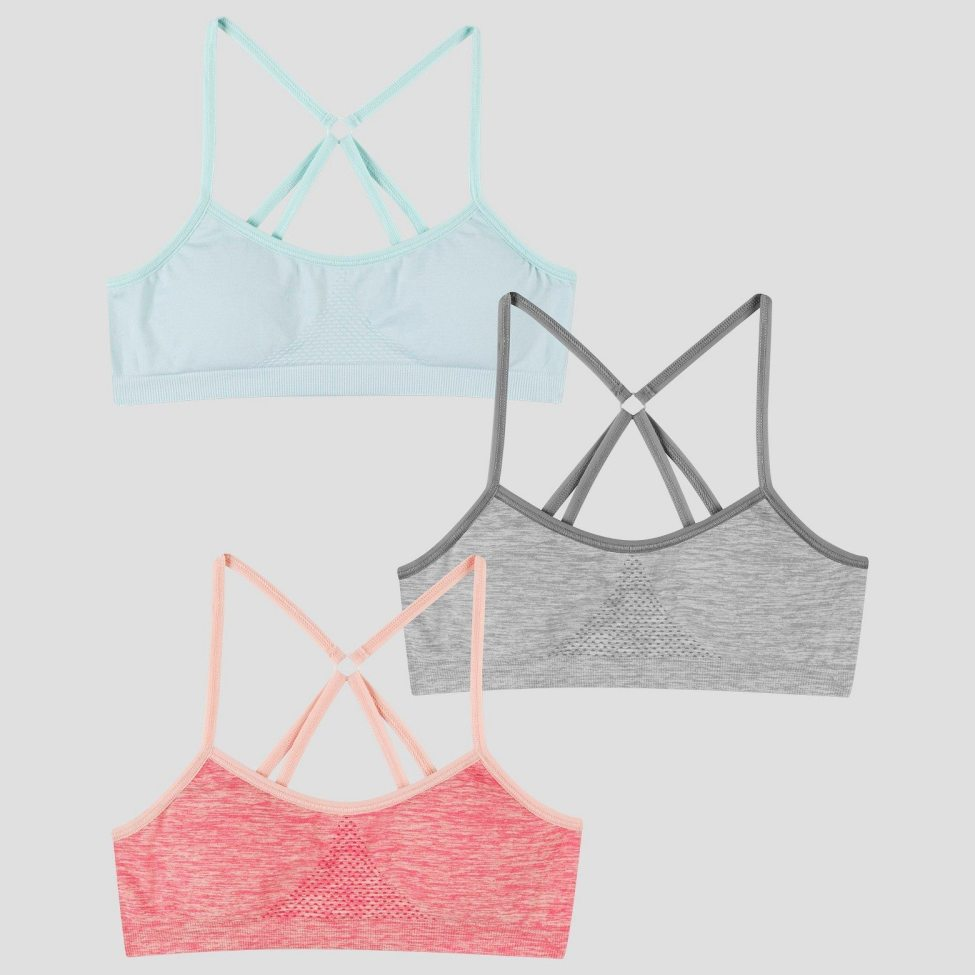 Girls' bras in blue, gray, and pink