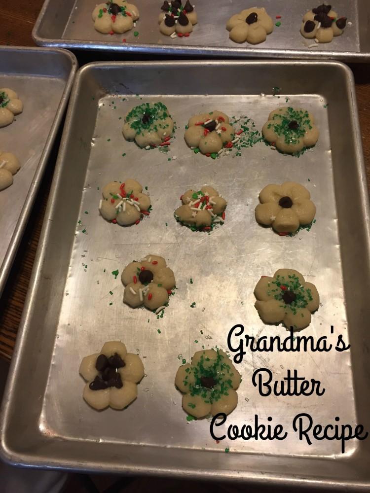 butter cookies on baking sheet