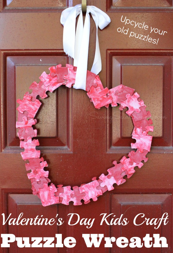 Valentine's Day Kids Craft Puzzle Wreath | Upcycle your old puzzle pieces for this crafty heart wreath craft idea! Perfect for kids to make as a diy mother's day gift #DIY #valentinesCraft #MothersDayCraft #KidsCraft