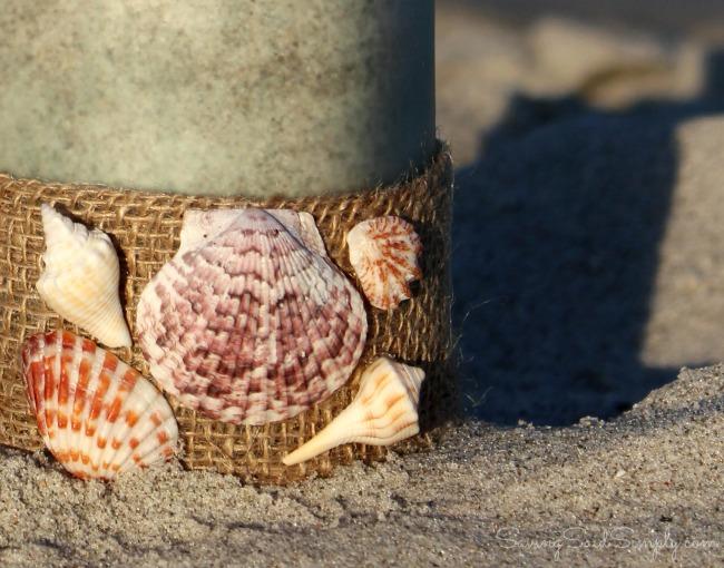 Beach candle DIY shells