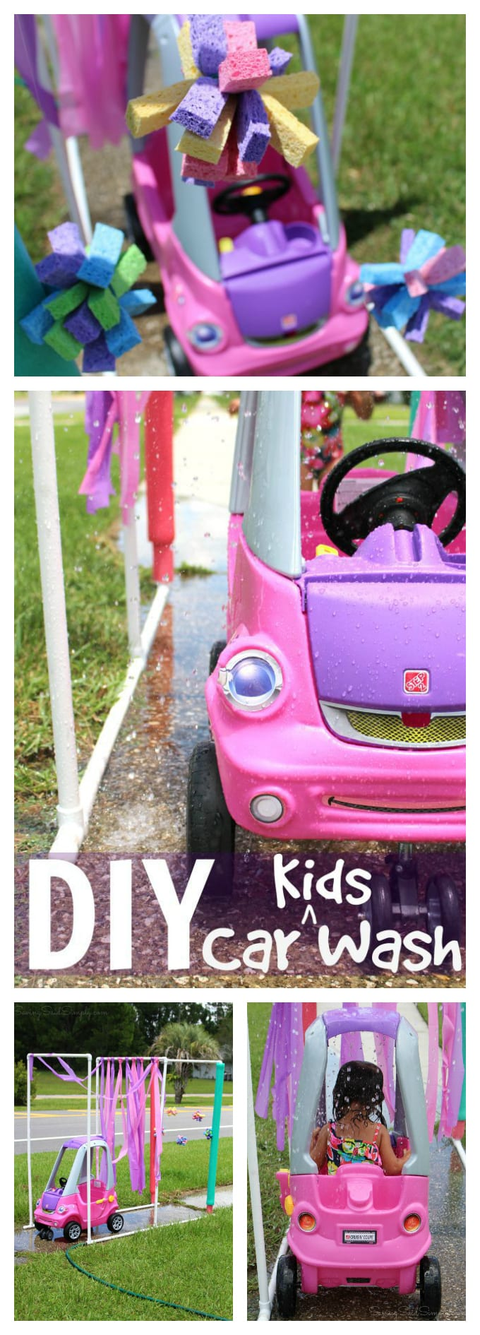 DIY Kid Car Wash | Step2 Easy Turn Coupe Review - Make your own Easy DIY Toddler Car Wash featuring PVC pipes for a fun summer kids activity. Full tutorial, directions & more. Perfect budget water play idea - #DIY #SummerFun #WaterPlay #FunForKids