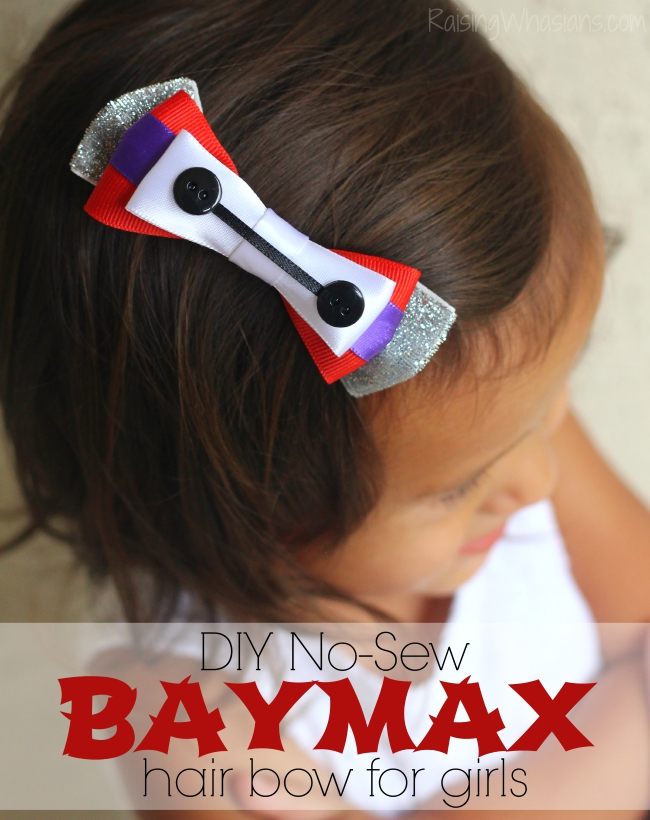 No sew Baymax hair bow for girls diy No Sew Baymax Hair Bow for Girls DIY - Create an adorable Disney inspired hair bow for your little girl! This Big Hero 6 inspired accessory is easy to make, no sewing required! Perfect Disneybounding, style piece to make at home #Disney #DisneyBounding #Craft