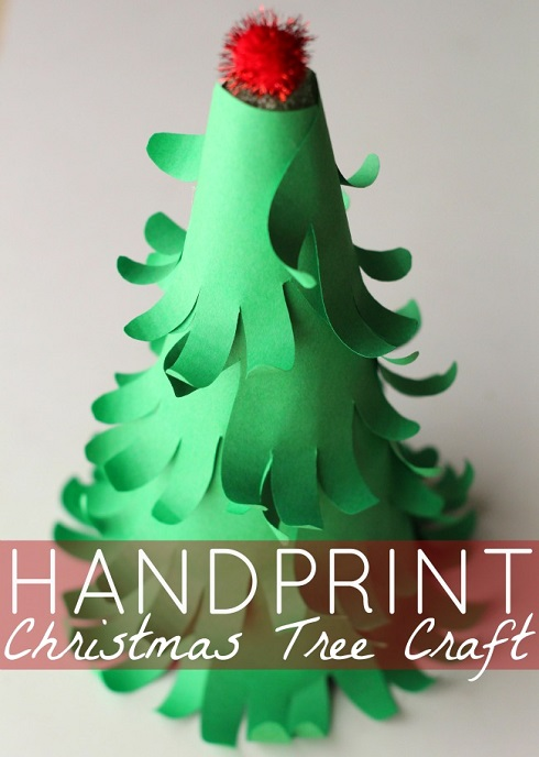 handprint Christmas tree 3d