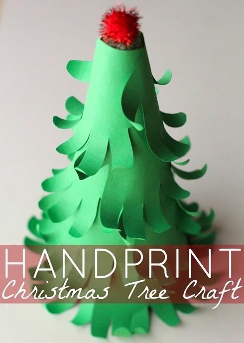handprint Christmas tree 3d