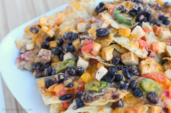 Loaded nachos vegetarian Loaded Vegetarian Nachos Recipe | Easy to make and protein packed Vegetarian Nachos Recipe, perfect for game day! Smoky Chipotle flavor with Nasoya Tofu #Recipe #GameDayRecipe #VegetarianRecipe