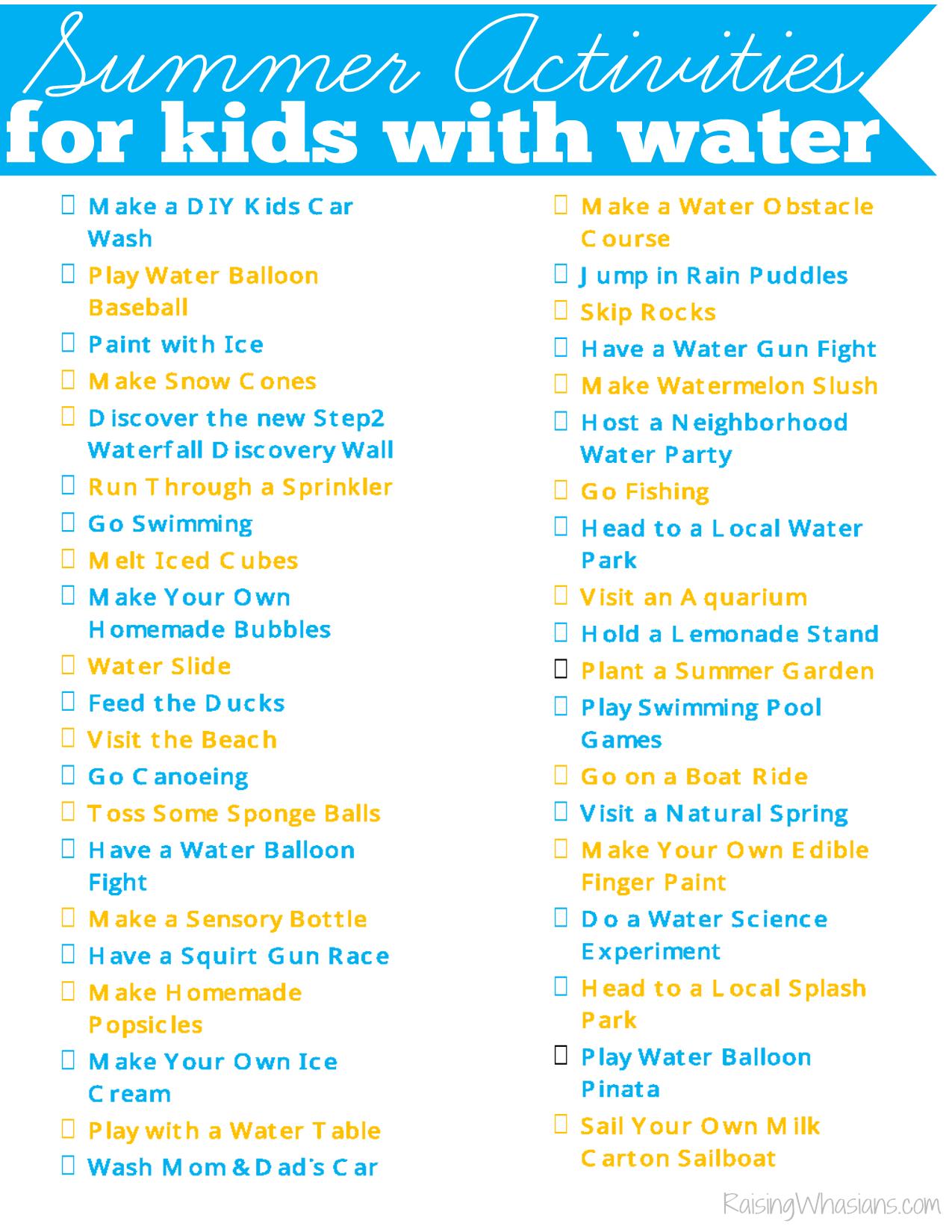 40 Water Summer Activities For Kids Printable Checklist