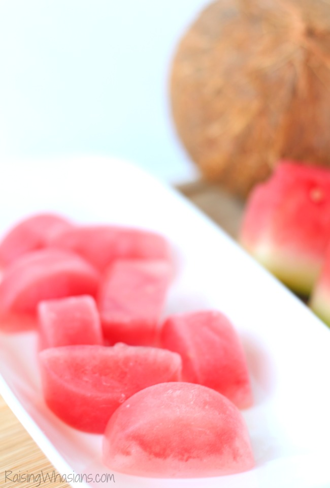 Watermelon Coconut Fruit Ice Cubes   My healthy secret to drinking more water! Easy to make fruit infused ice cubes. Perfect healthy drink idea #Recipe #SummerRecipe