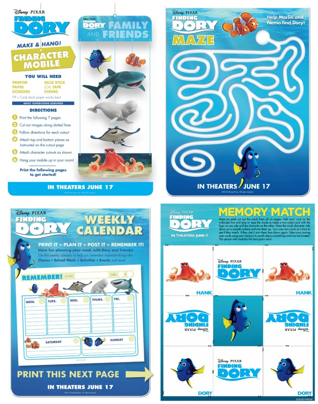 Free finding Dory printables for kids