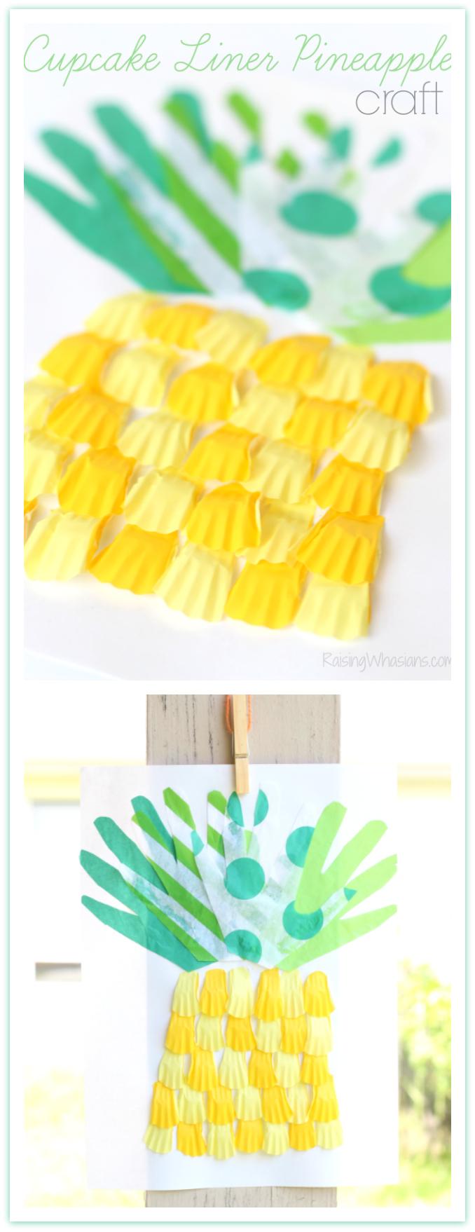 Cupcake liner pineapple craft