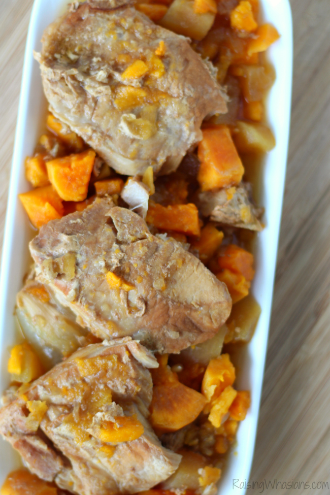 Easy Crockpot Pork Chops with Apples & Sweet Potatoes | Easy Crock Pot Pork Chops Recipe - made with sweet potatoes & apples for all-in-one fall meal - Slow cooker meal planning option - #SlowCooker #CrockPot #Recipe #SlowCookerRecipe