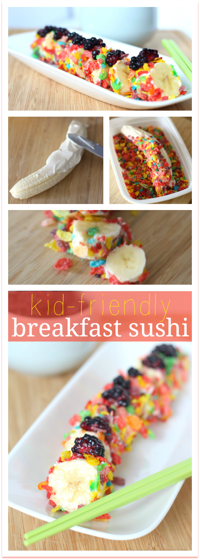 Kid Friendly Breakfast Sushi Recipe | Quick and FUN kids breakfast idea - perfect for back-to-school! Yummy Breakfast Sushi for kids with Fruity Pebbles - Perfect for your back to school meal plan or as part of a kids brunch party. Would also make a great after school snack.