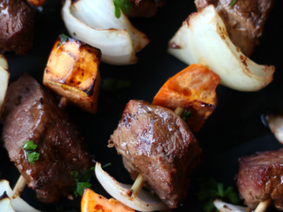 Fall steak kabobs apple cider marinade