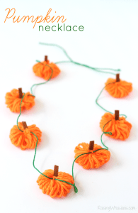 Easy Yarn Pumpkin Necklace Craft + Garland