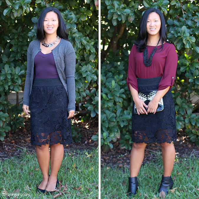 Skirt day to evening fashion