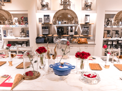 Beauty and the beast dinner party at Williams Sonoma
