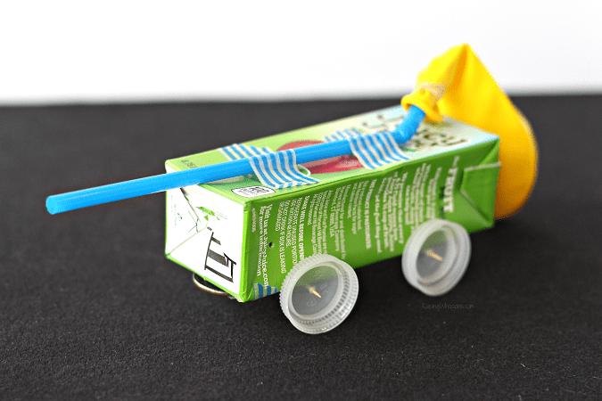Juice box balloon car