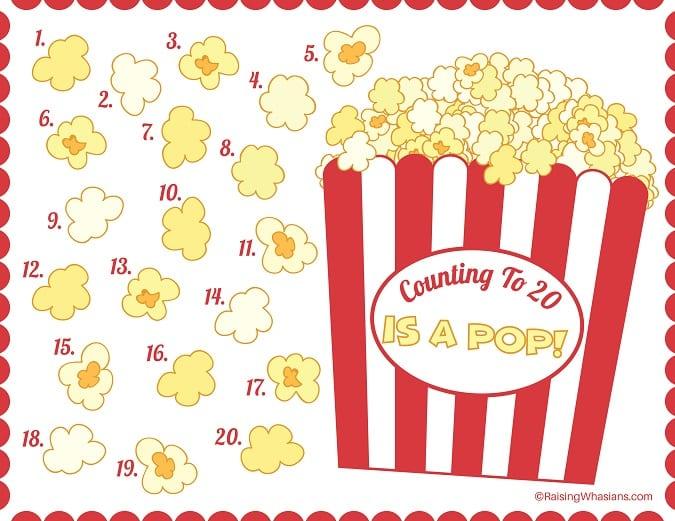Free popcorn counting worksheet