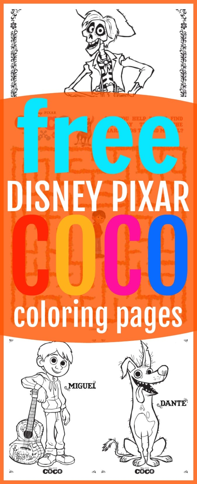 Free Disney coco coloring sheets pinterest
