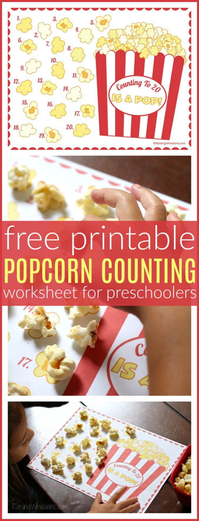 Free popcorn counting printable pinterest