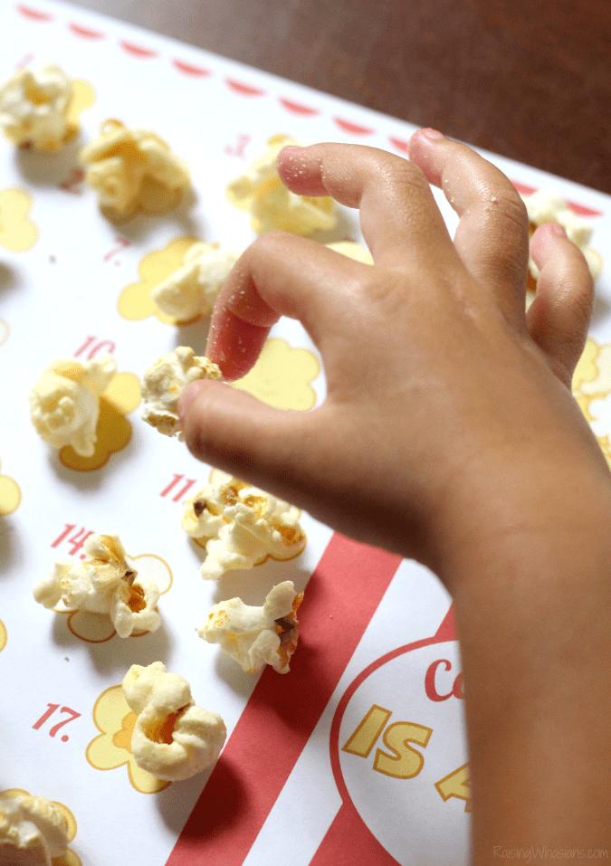 Popcorn counting worksheet