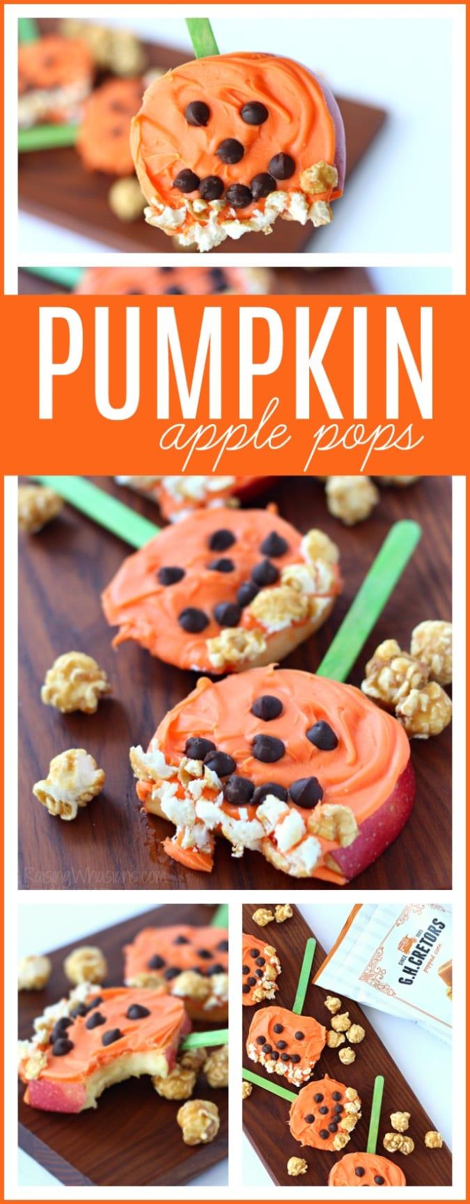 Pumpkin apple pops pinterest Need a festive fall snack that kids love? Try these Pumpkin Apple Pops for a fun Jack-O-Lantern inspired snack, featuring G.H. Cretors Popcorn #Snack #Halloween #Recipe