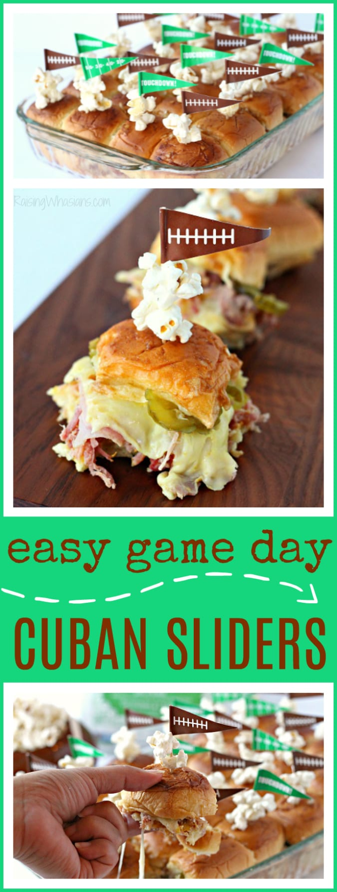 Wow your football party with these Easy Cuban Sliders for Game Day | easy sheet pan sandwiches for a delicious appetizer idea - This appetizer recipe would be perfect for a game day meal plan or for a superbowl party. Don't miss this easy sandwich recipe. #Recipe #SuperBowlRecipe #GameDayFood #EasyRecipe #Appetizer