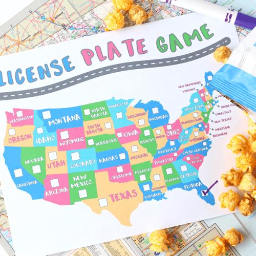Free license plate game printable