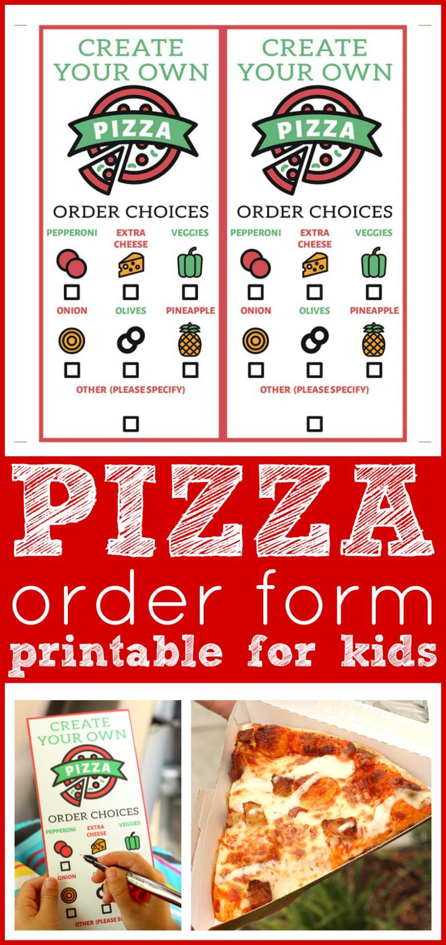 Pizza order form for kids